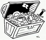 Treasure Chest Coloring Pages Printable Cartoon Clipart Clip Popular Library sketch template