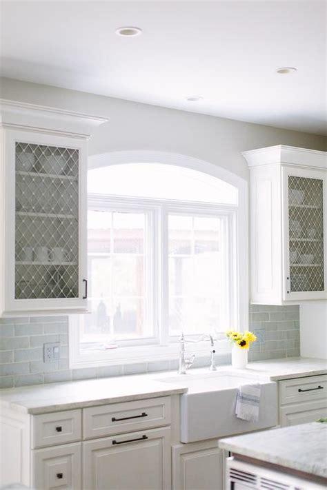 kitchen cabinets  metal lattice doors transitional