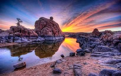 Colorful Sunrise Morning Clouds Lake Rocks Golden