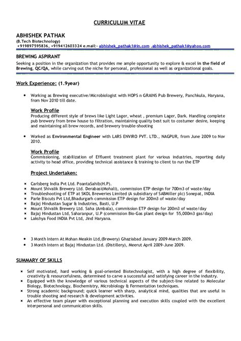 Food Microbiologist Resume Sle by Abhishek Pathak Cv
