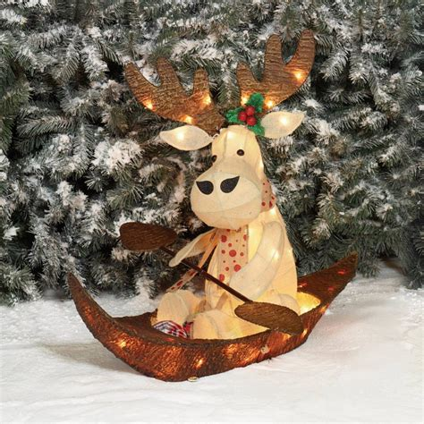 yard outdoor lighted christmas decoration  moose holiday