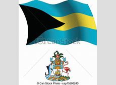 EPS Vector of bahamas wavy flag and coat of arms against