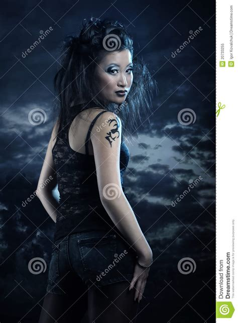 gothic asian girl royalty  stock photo image