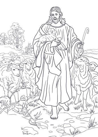 jesus   good shepherd coloring page  printable