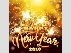 Happy New Year 2019 Golden Text and GIF Animated Sparklers