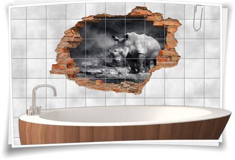Fliesenaufkleber Afrika by Fliesenaufkleber Wanddurchbruch Nashorn Safari Afrika