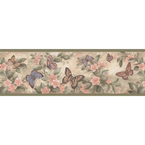 brewster pastel butterflies wallpaper border sample bsam  home depot