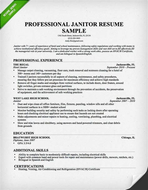 The Resume Place by Professional Janitor Resume Downloadable Template Resume