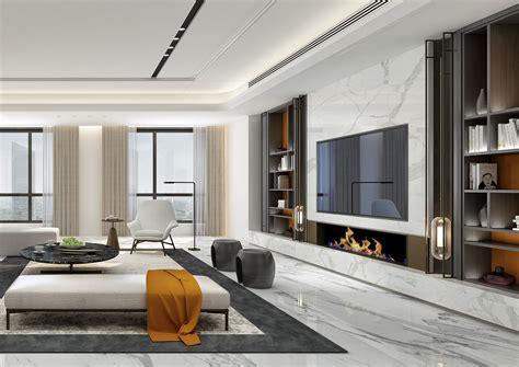 marble white x grey x orange accent living room