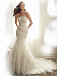 fit and flare wedding dress with strapless neckline With flare dresses for wedding