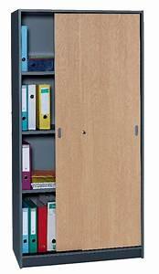 Armoire Hauteur 180 : armoire de bureau anthracite portes coulissantes hauteur ~ Edinachiropracticcenter.com Idées de Décoration