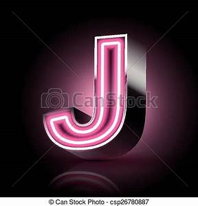 Vector of 3d pink neon light letter J isolated on black