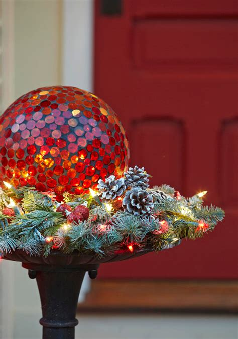 gazing ball  bed  twinkling lights pinecones