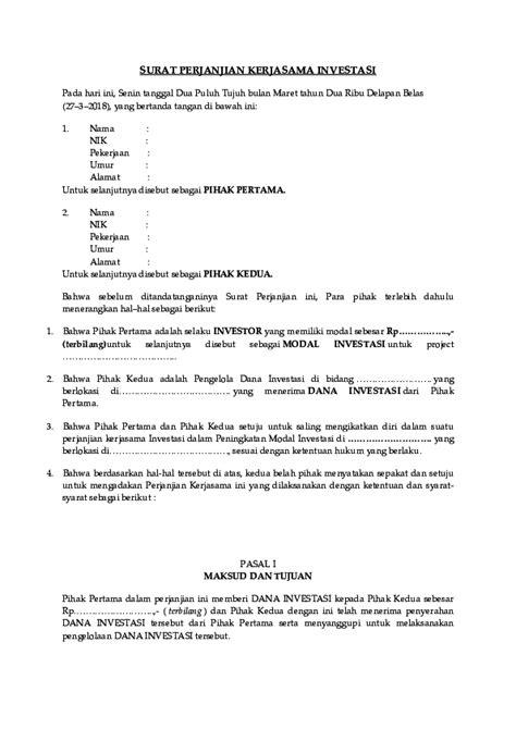 surat perjanjian kerjasama investasi feby sr