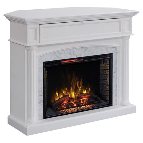 electric fireplace with mantle 5100 btu 1500w white