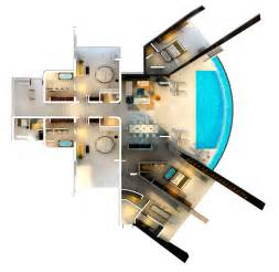 two story floor plan home with infinity pool and glass bottomed pool rendered in 3d