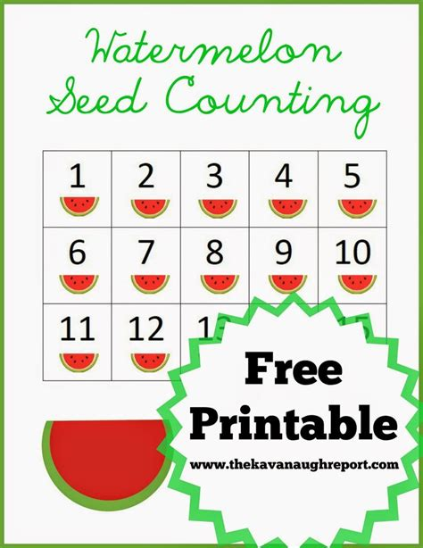 watermelon seed counting free printable of the day