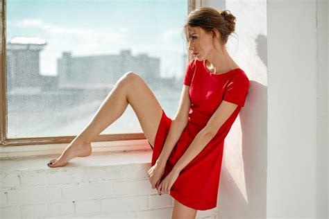 Women Long Legs Red Dress Window Sill Skinny Wallpaper
