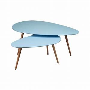 Table Basse Scandinave Bleu : tables gigognes 116x66x45cm coloris bleu baltic maison et styles ~ Teatrodelosmanantiales.com Idées de Décoration