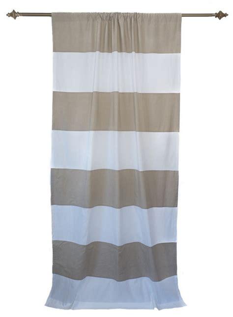organic taupe and white horizontal stripe curtain panel