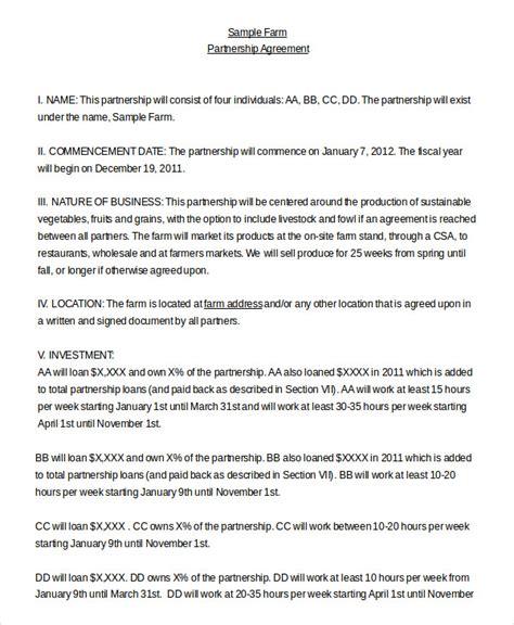 Farm Partnership Agreement Template by Partnership Agreement 11 Free Word Pdf Documents