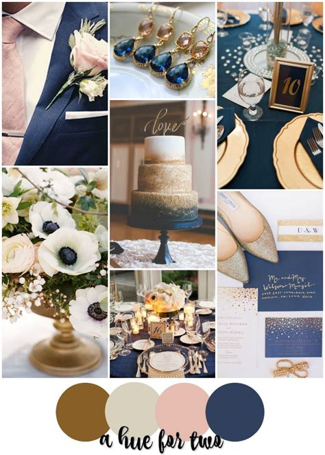 navy blue wedding color schemes gold chagne blush and navy wedding colour