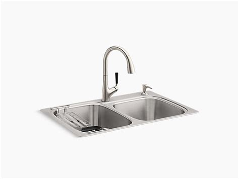 all in one kitchen sink k r75791 2pc kohler 174 all in one kit top mount 7422