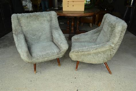 vintage gray faux fur chairs for sale at 1stdibs