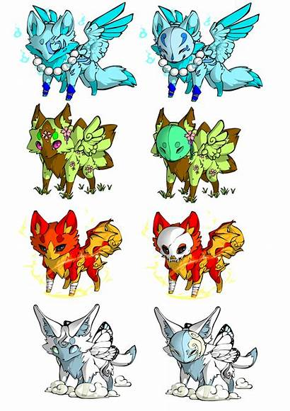 Elemental Foxes Each Deviantart Closed Points Drawings