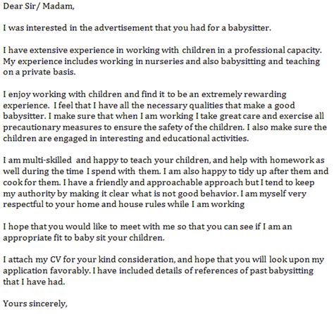 Cover Letter For Babysitting by Cover Letter Exle Learnist Org