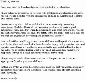 babysitter cover letter example learnistorg With applying for a nanny position cover letter