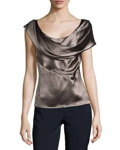 silk charmeuse blouse carolina herrera silk charmeuse blouse with cowl neckline