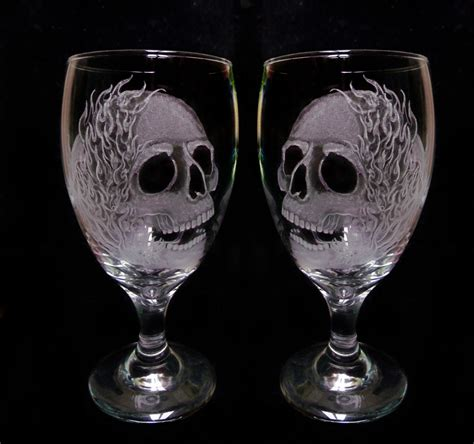 engraved barware wine glasses skulls and flames set of two engraved