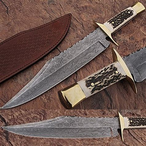 Custom Made Damascus Steel Bowie Hunting Knife W Stag