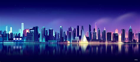 wallpaper  york cityscape gradient neon skyline