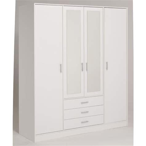 armoire chambre blanche essentielle armoire blanche 4 portes 4 étagères achat