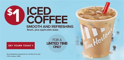 Tim Hortons: Small Iced Coffee only $1