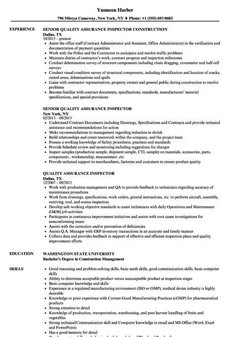 quality assurance inspector resume sles velvet