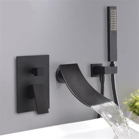 black wall mount waterfall tub faucet elegant bathtub