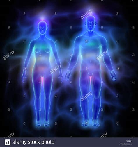 Human Energy Body Silhouette Aura Stockfotos & Human