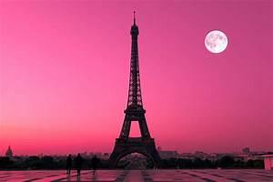 Paris Pink Sunset Wallpaper Wall Mural