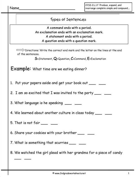 types  sentences worksheet  grade grade