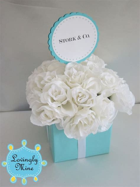 baby shower centerpieces for small centerpiece light teal and white three tier square centerpiece designer inspired