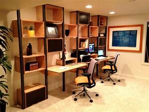 Home Office Cool Home Office Design With Brown Wall