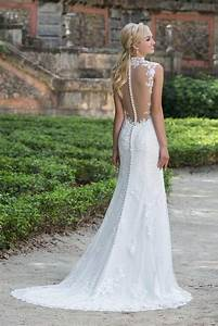 cool elegant lace wedding dress with buttons down back With wedding dress buttons down back