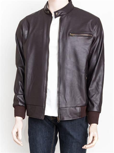 jual beli jaket kulit sintetis premium warna coklat