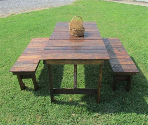 5 or 6 rustic wood table bench set picnic table