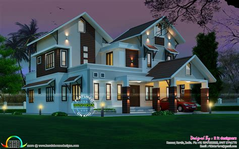 2963 Sqft Beautiful Sloping Roof Mix House  Kerala Home