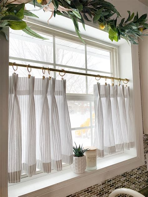 pleated ticking striped cafe curtains tier curtains