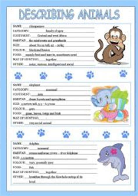 worksheets describing animals 1 3